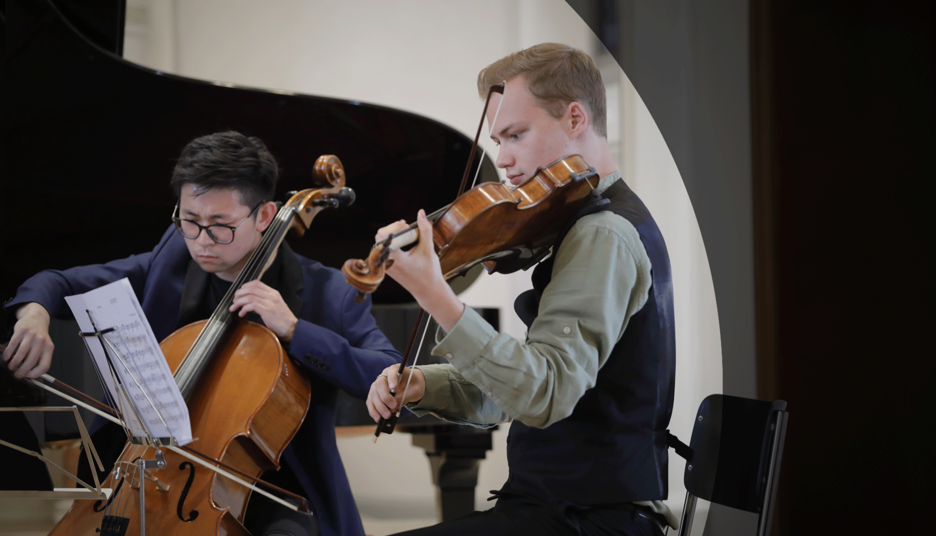 Two students at the Borromeo Music Festival